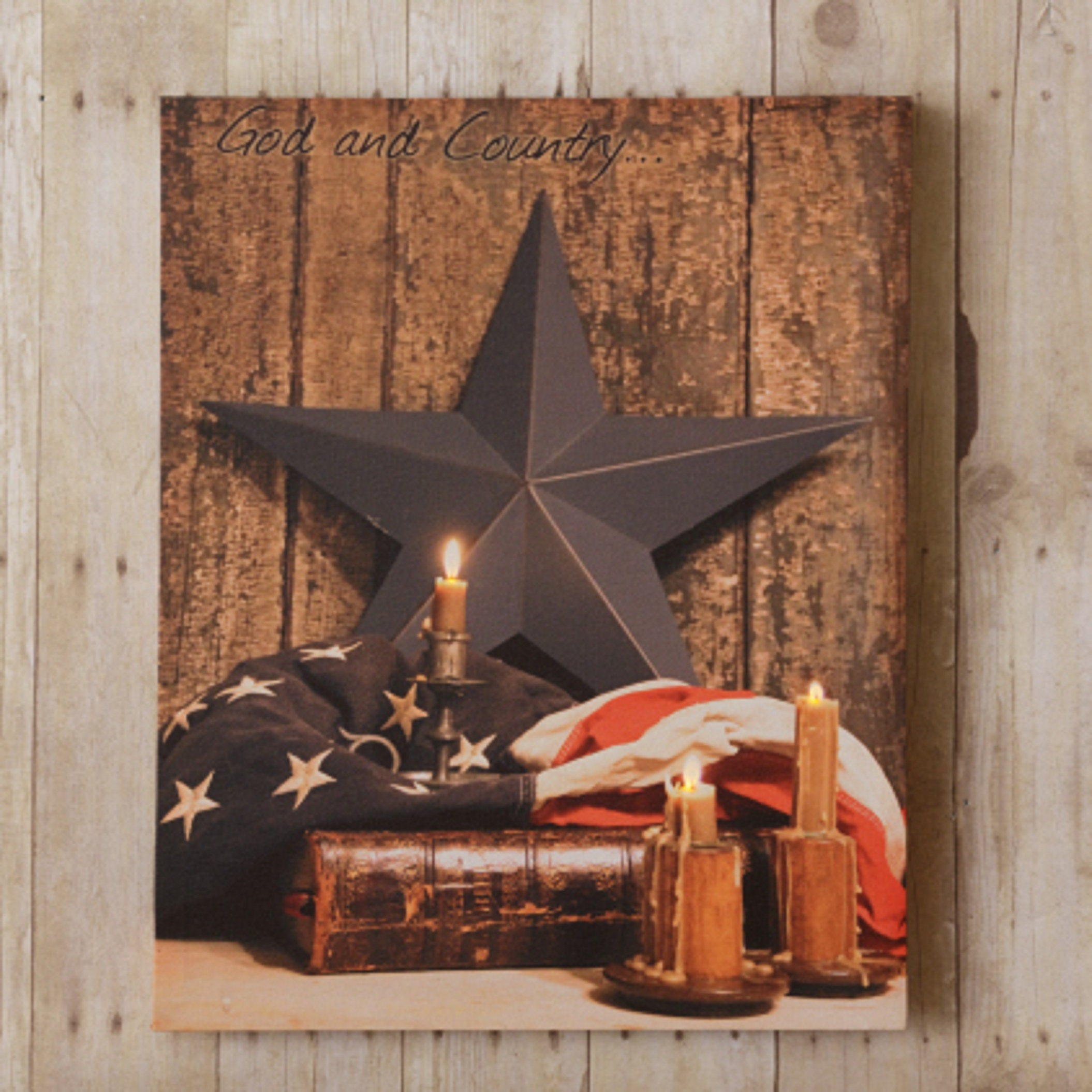 Patriotic god country led canvas print